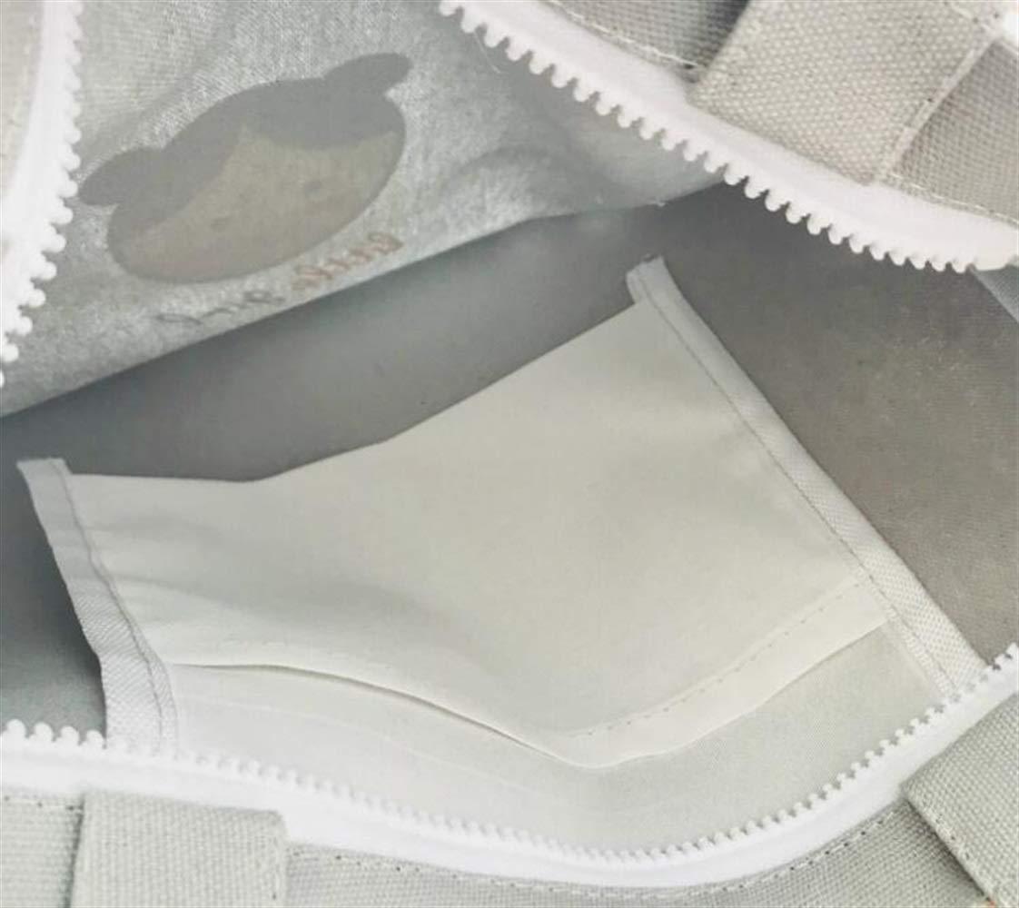Pinjewelry Bag Multipurpose Little Girl Printed Large-Capacity Canvas Tote Shoulder Bag Handbag White