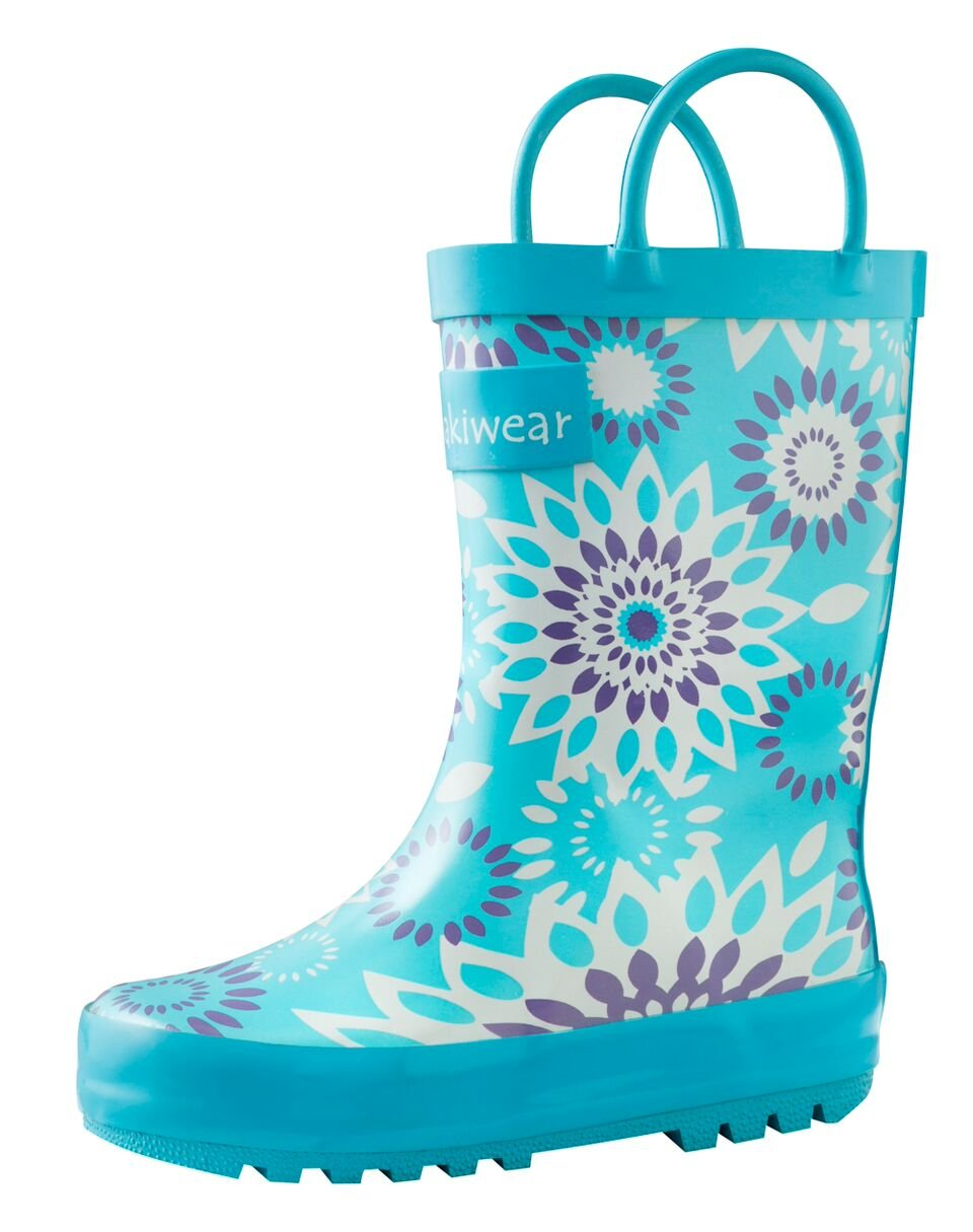 Oakiwear Kids Rubber Rain Boots with Easy-On Handles, Frozen Bursts, 2Y US Big Kid by Oakiwear (Image #2)