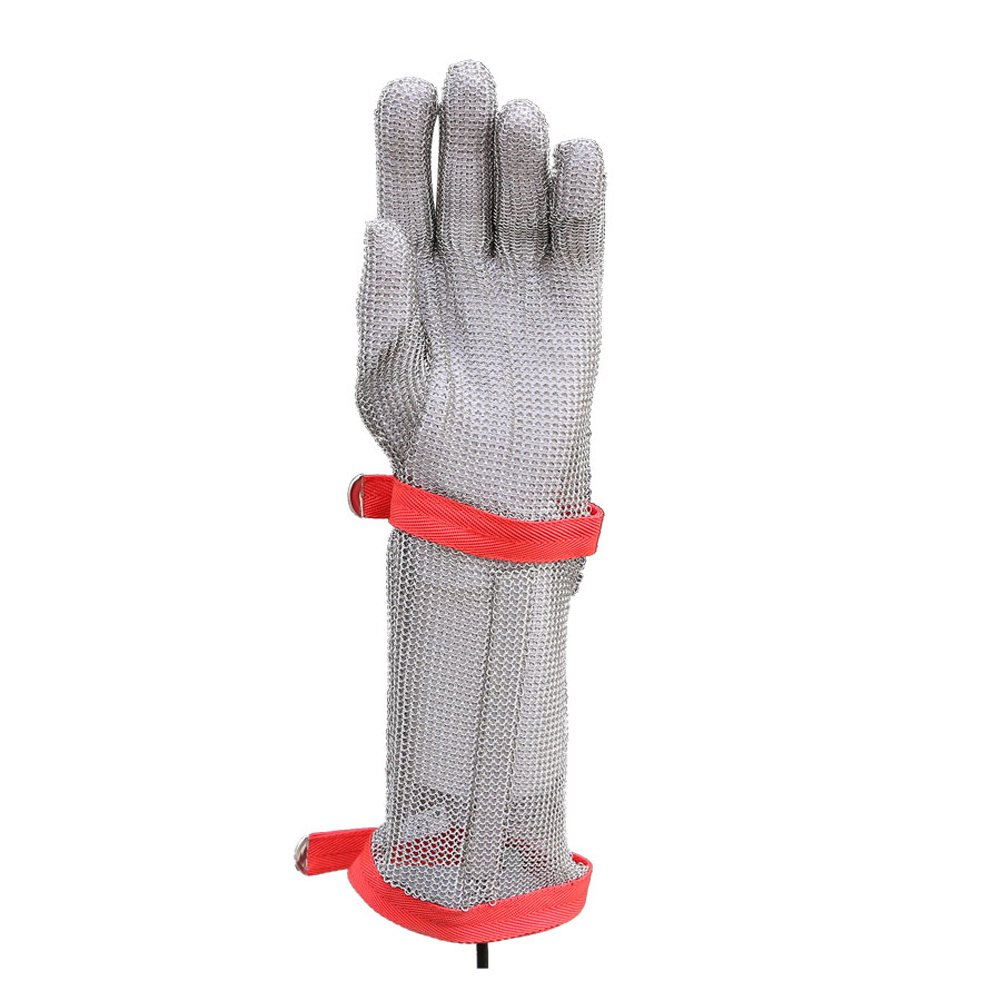 DLGLOBAL 15CM Long Nylon Wristband Gloves Cut Resistant Safety Work Gloves Stainless Steel Mesh Butcher Chain Mail Gloves M