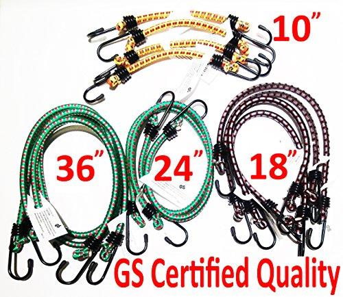 """German GS Certification Bungee Cord 12 Pieces in Jar including 10"""" 4pcs, 18"""" 4pcs, 24"""" 2pcs, 36"""" 2pcs"""