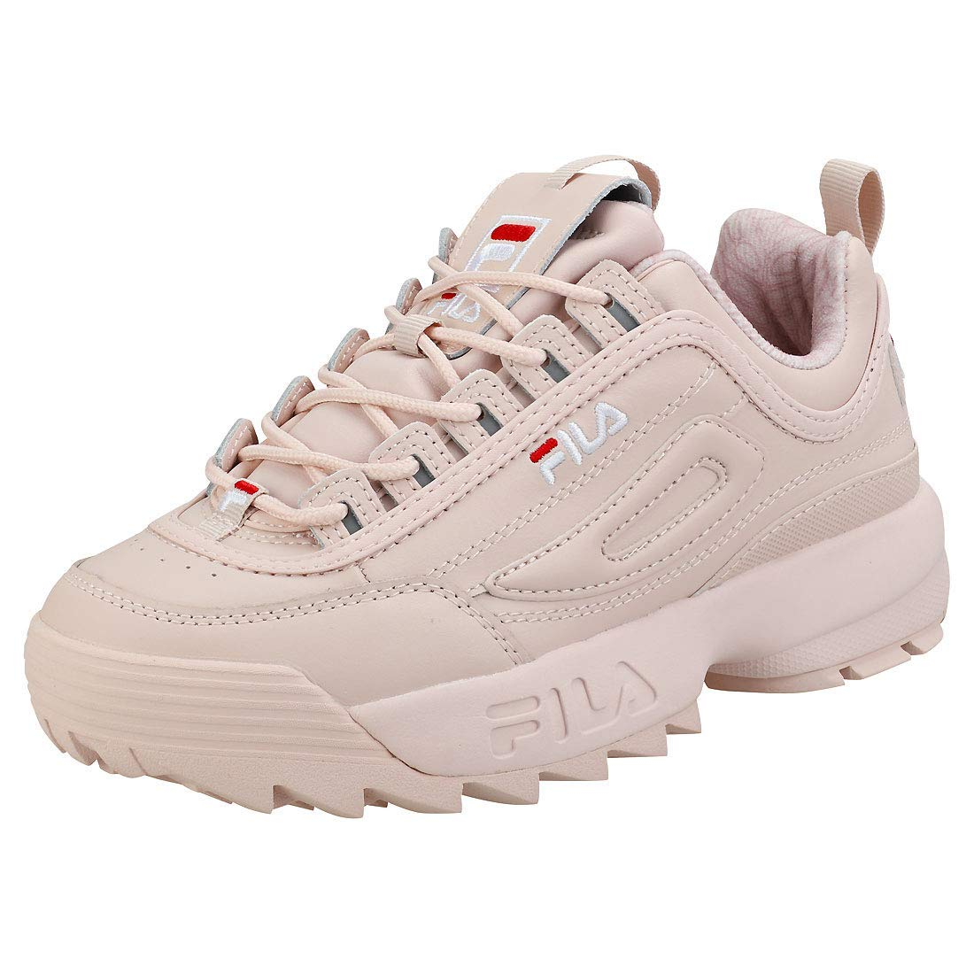 c340ce2cabc Galleon - Fila Women's Disruptor II Premium Sneakers, Peach Blush/White/Fila  Red, 9.5 M US