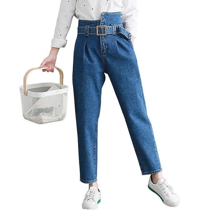 5ba5c1646b Packitcute Pantalones Vaqueros de Cintura Alta Vintage Blue Jeans para  Mujeres Chicas Adolescentes (S)