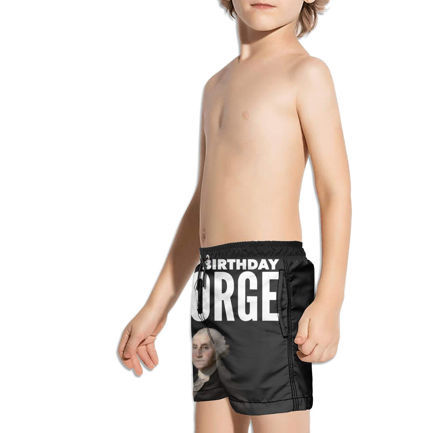 JIONONDS Happy Birthday George Washington Kids Quick Dry Fully Lined Active Swimming Trunks Shorts
