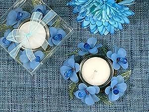 Elegant Frosted Blue Glass Flower Candle Holder