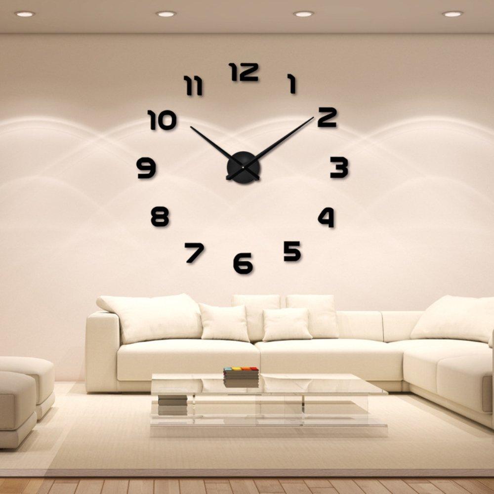 Amazon.com: Large DIY Wall Clock Modern Mute 3D Frameless Mirror ...