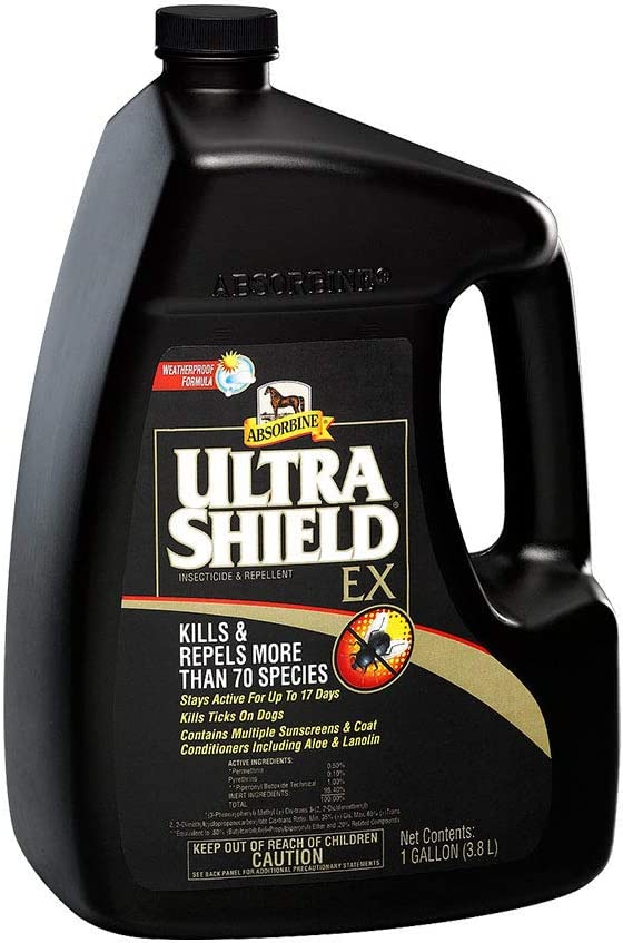 Absorbine UltraShield EX Fly Spray, Insecticide and Repellent for Horses & Dogs, Lasts Up to 17 Days, 128oz Gallon Refill