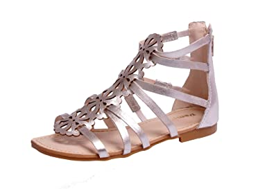 ac3aea97a631a5 Pampili Girls Gladiator Open Toe Flat Sandals – Silver Ankle Strap Shoes