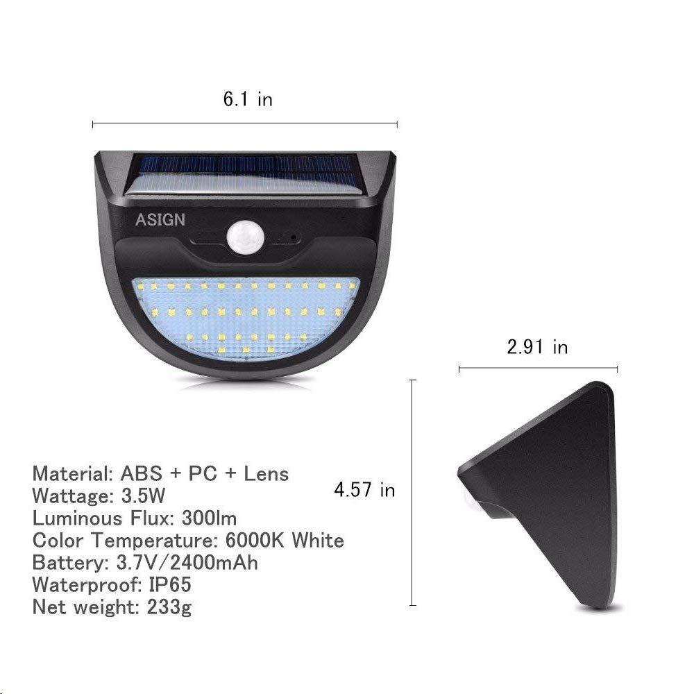 2400mAh Battery 6000K Daylight White Light 300lm ASIGN LED Solar Lights IP65 Waterproof Security Lights ASIGN Lighting 37 LEDs Chips Motion Sensor Outdoor Wall Light with 3 Intelligent Modes
