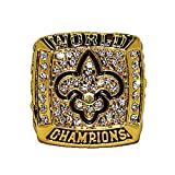 NEW ORLEANS SAINTS (Drew Brees) 2009 SUPER BOWL XLIV WORLD CHAMPIONS (Vs. Indianapolis Colts) Rare & Collectible High-Quality Replica NFL Football Gold Championship Ring with Cherrywood Display Box