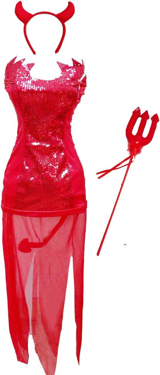 Bslingerie - Disfraz de diabla sexy para mujer, color rojo: Amazon ...