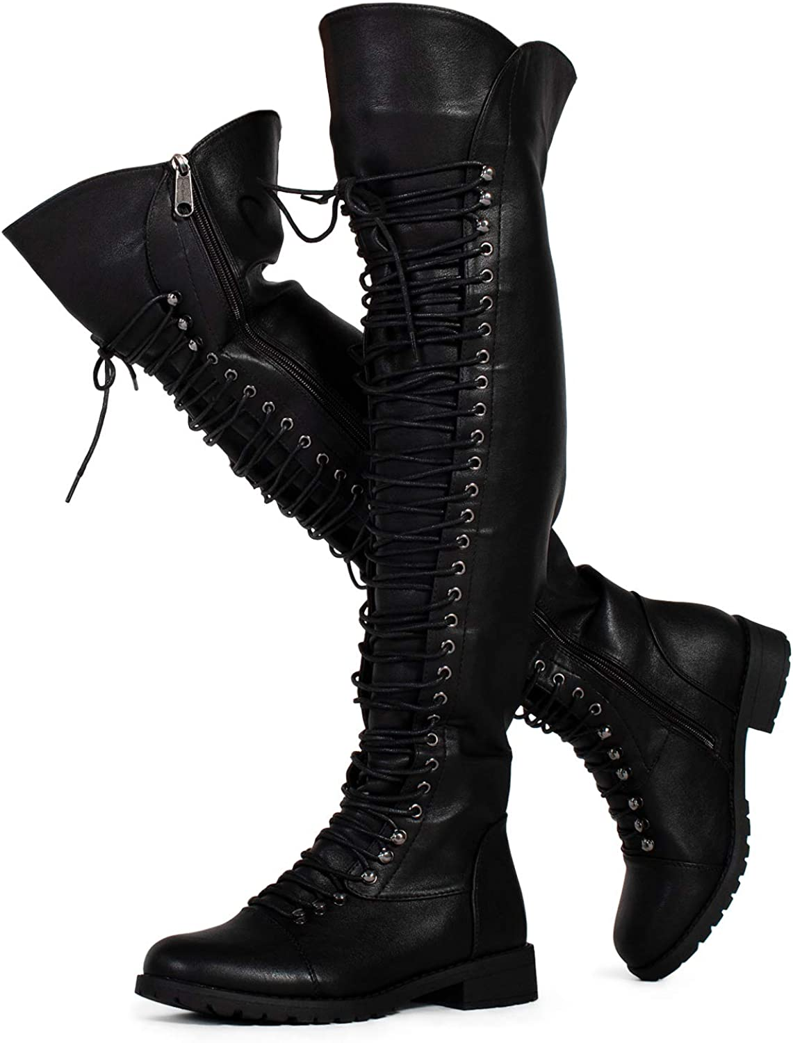 RF ROOM OF FASHION Womens Lace Up Military Over The Knee OTK Combat Riding Boots