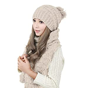 TININNA Winter Warm Knitted Thicken Crochet Bobble Pom Pom Beanie Hat Cap and Scarf Set for Women Girls Beige