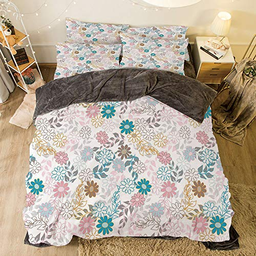 Spring Color Palette - All Season Flannel Bedding Duvet Covers Sets for Girl Boy Kids 4-Piece Full for Bed Width 6.6ft Pattern by,Floral,Cute Pastel Daisies and Leaves Blooming Retro Style Foliage Spring Color Palette Dec