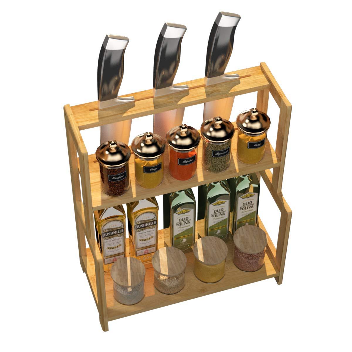 soges bastidores de Especias de Cocina de bamb/ú de 3 Niveles Estante de Almacenamiento Estante Organizador de encimera Multifuncional para Especias Estante de ba/ño CFTWJ