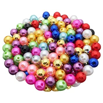 New 6mm 100Pcs Purple Acrylic Round Pearl Spacer Loose Beads DIY Jewelry Making