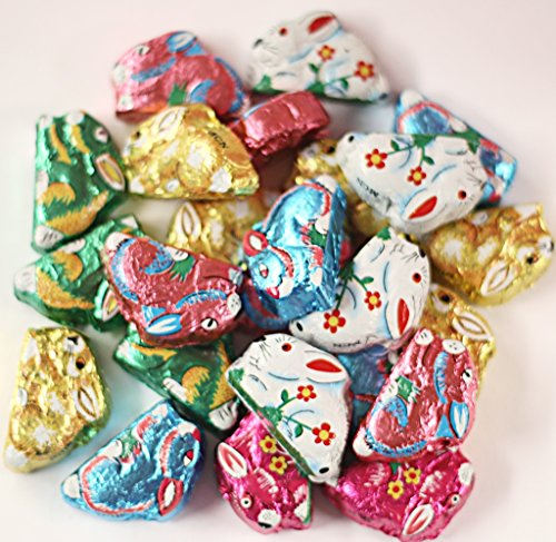Scott's Cakes Foil Wrapped Solid Milk Chocolate Mini Sitting Bunnies in a 1 Pound Clear Cello Bag