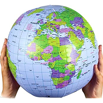 Inflatable Globe World Map. Inflatable Globe Blow Up World Map Atlas Ball Earth  40cm Amazon com