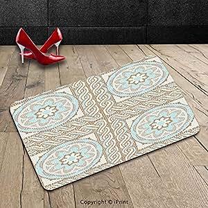 Custom lavable Felpudo (Antique Decor Collection mosaico diseño con flores elementos giros y Multi Colored Circular patrón crema y marrón color azul para interiores/al aire libre Felpudo alfombra alfombra alfombra