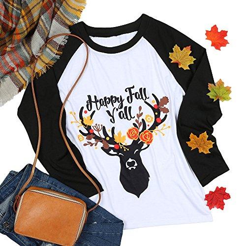 Vin beauty wlgreatsp Heureux de Femmes D'Automne Y'all Cool de Base-Ball Mode Casual Tops Lettre T-Shirt