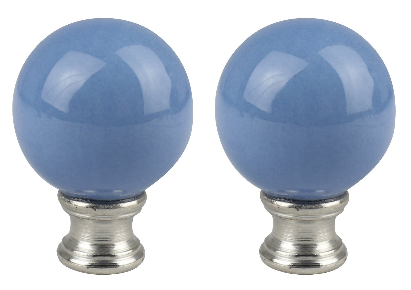Urbanest Set of 2 Ceramic Ball Lamp Finials, 2-inch Tall, Light Blue