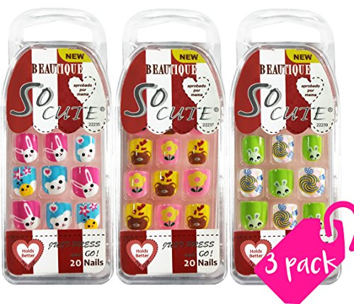 MayQueen 3 Pack So Cute Animal Design Junior Nail for Kids 22235/22237/22239 (Sticker Nails) (rabbit)