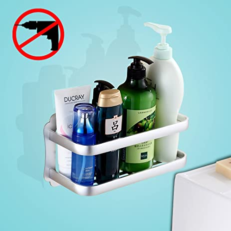 Gricol Bathroom Shelf Shower Caddy Storage Organizer No Damage Suction Cup Space Aluminum Rustproof Basket For