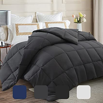 white fluffy comforter over a bed
