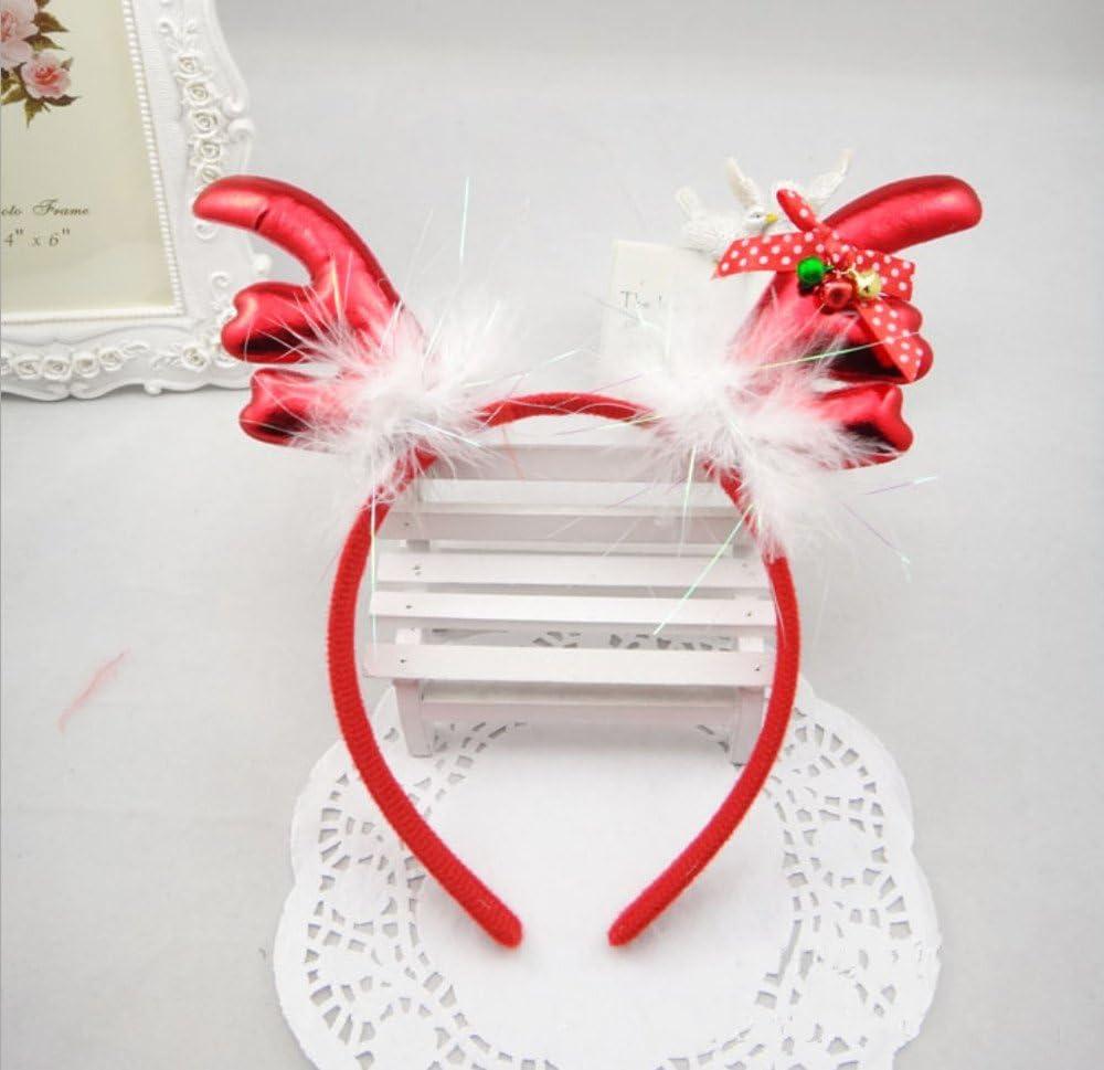 TINGOR Antlers Christmas Headband, Feather Bow Tie Bells Elk Headbands Christmas Party Decor Hats Hairband for Children