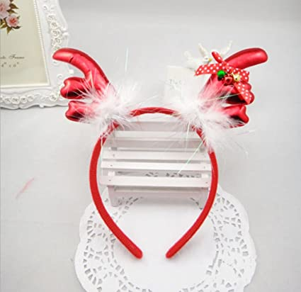 Christmas Headband Craft.Tingor Antlers Christmas Headband Feather Bow Tie Bells Elk Headbands Christmas Party Decor Hats Hairband For Children