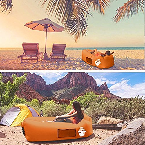 Legit Camping Inflatable Lounger by with Carrying Bag & Pockets for Indoors/Outdoors – Inflatable Couch & Air Chair with Headrest & Securing Stake- For Camping Beach or Pool (Orange)