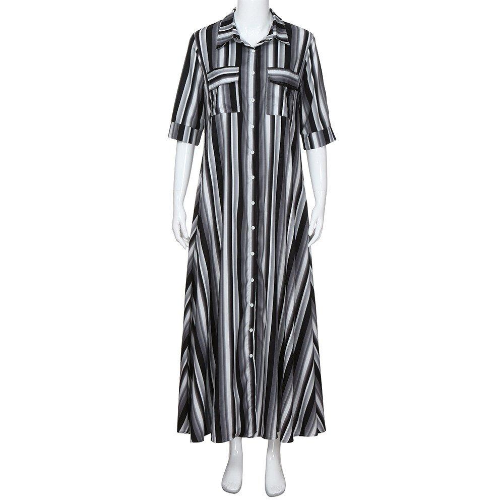 Fanyunhan Women Half Sleeve Striped Dress Multicolor Loose Button Maxi Dress Boho Beach Sundress Robe Dress Black by Fanyunhan Dress (Image #2)
