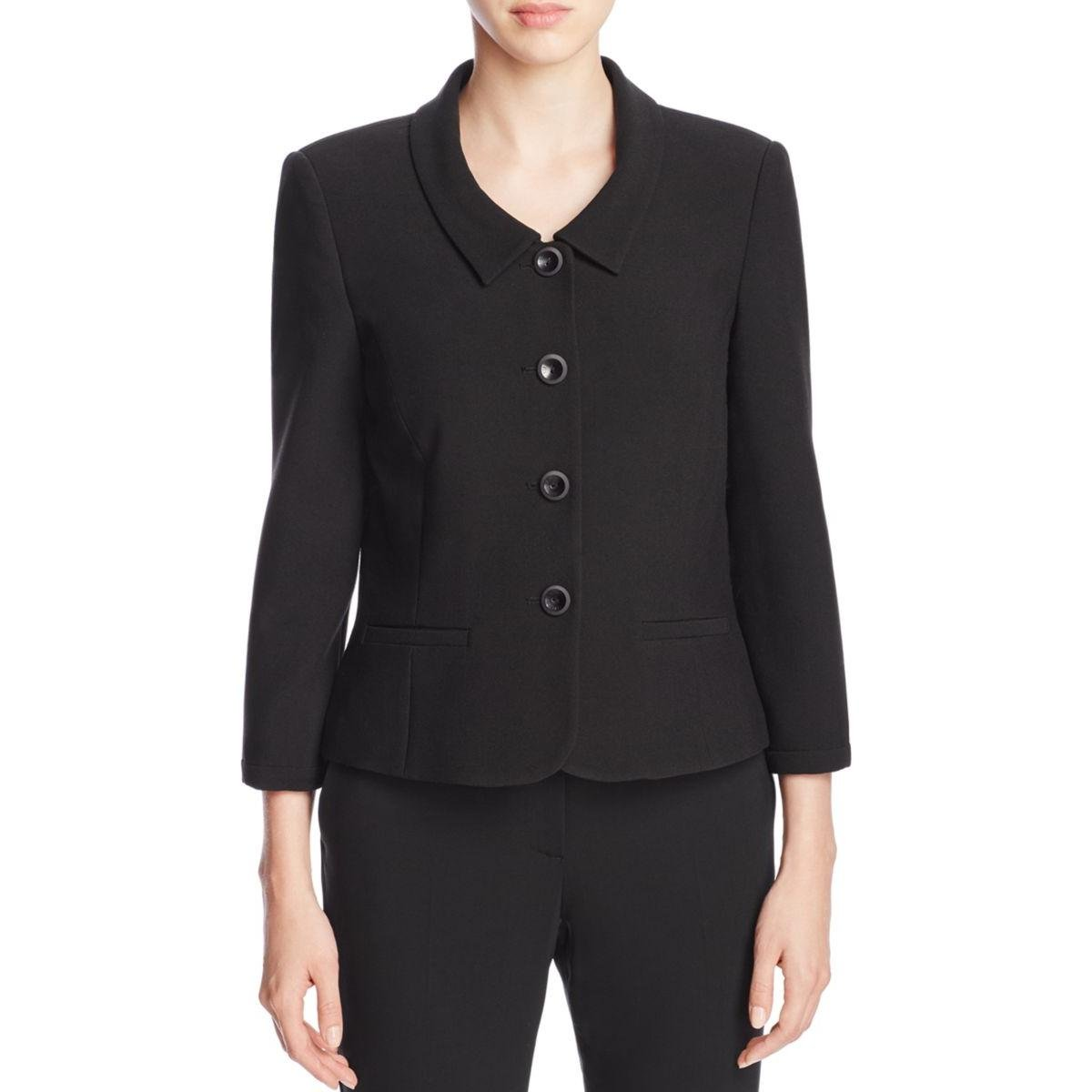 Finity Womens Crepe Fitted Four-Button Blazer Black 12