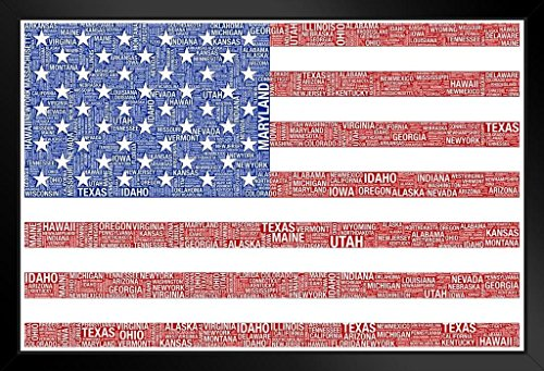 Poster Foundry Words USA Flag Black Wood Eco Framed Print 9x13 (The Star Spangled Banner In Modern Words)