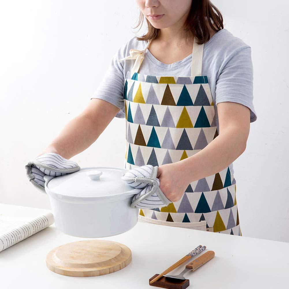 langlebige K/üchen- und Kochsch/ürze f/ür Frauen professionell gestreifte Kochsch/ürze zum Kochen LLRY Damen Sch/ürze aus Baumwollleinen mit praktischer Tasche Grillen und Backen