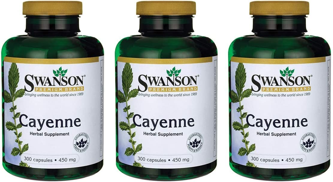 Swanson Cayenne 450 Milligrams 300 Capsules 3 Pack