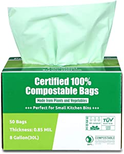 Primode 100% Compostable Bags, 8 Gallon (30L) Food Scraps Yard Waste Bags, 50 Count, Extra Thick 0.85 Mil. ASTM D6400 Compost Bags Small Kitchen Trash Bags, Certified by BPI and TUV