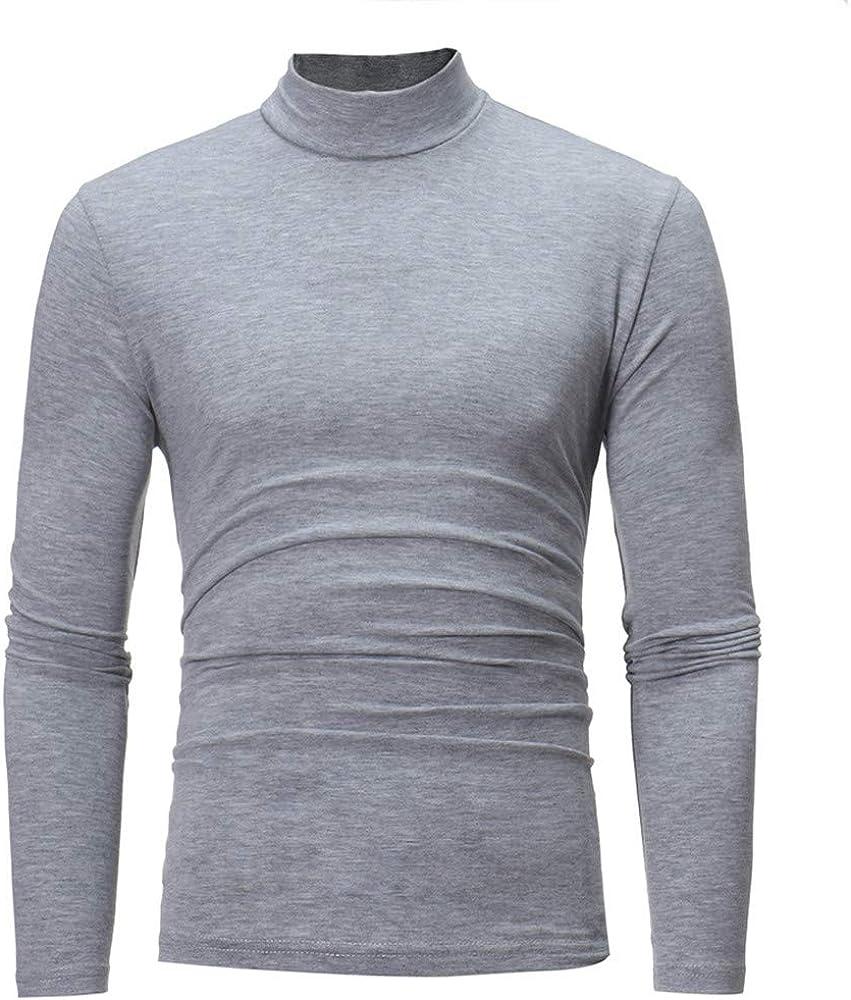 Ximandi Mens Autumn Winter Solid Turtleneck Long Sleeve Underlinen T-Shirt