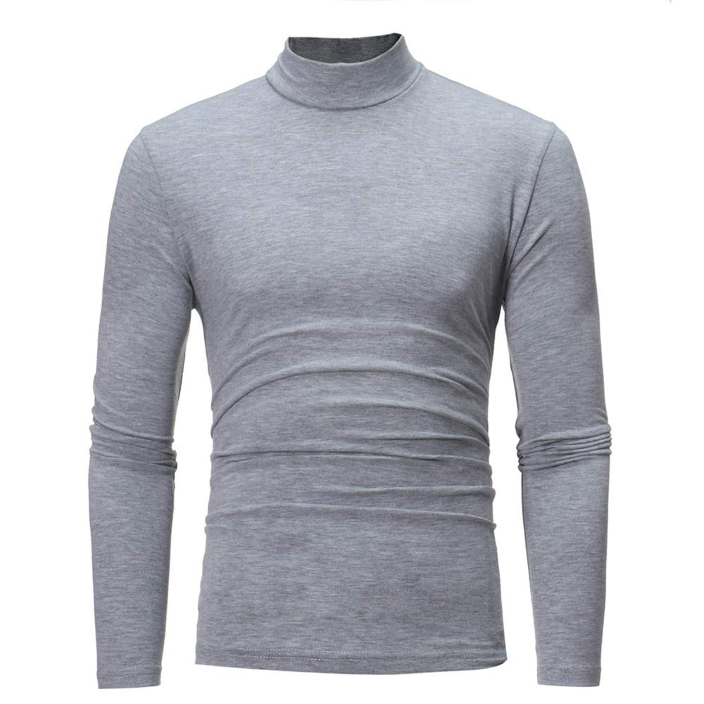 Man Slim Fit Tops Men's Autumn Winter Pure Color Turtleneck Long Sleeve T-Shirt Top Blouse Yiqianzhaobiao