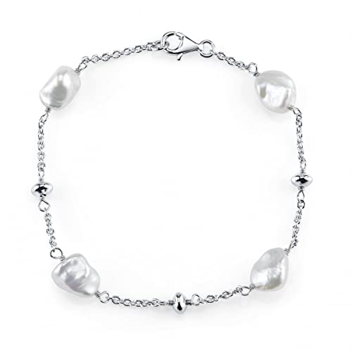 THE PEARL SOURCE 7-8mm Genuine White Keshi Cultured Pearl Bracelet for Women