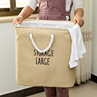 ESUPPORT Houseware Handle Laundry Hamper Square Storage Bin Toy Book Clothing Collection Large Size 15.7 x 14in, Beige