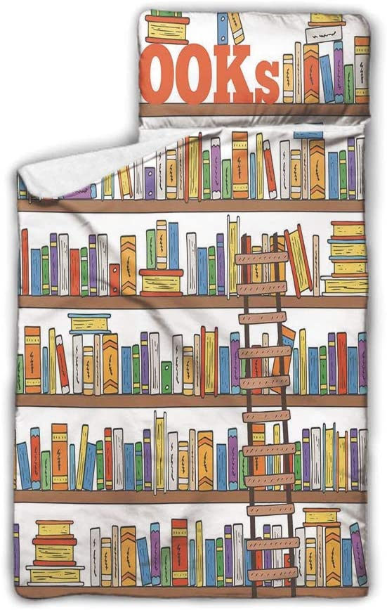 "SfeatrutMAT Library Bookshelf with A Ladder School Education Campus Life Caricature Illustration,Easy Clean Nap Mat with Pillow and Blanket,Multicolor,50""x20"",Fits Sleeping Toddlers,3-7 Years"