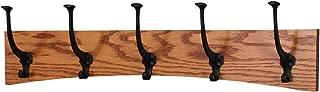 "product image for PegandRail Oak Wall Mounted Coat Rack - Arched Back Design - Black Mission Hooks - Made in The USA (Burnt Orange, 25.5"" x 6.5"" - 5 Hooks)"