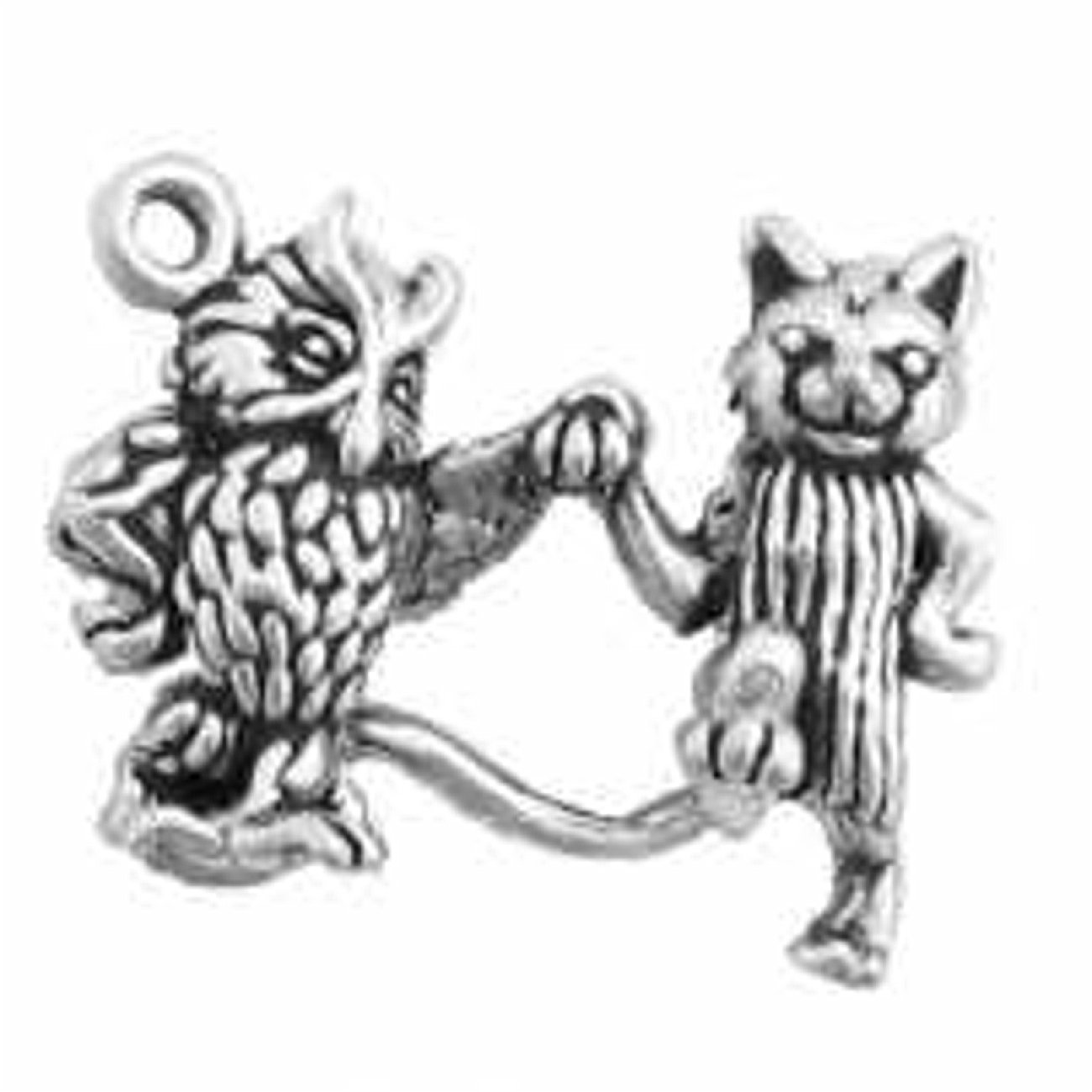 Sterling Silver 7 4.5mm Charm Bracelet With Attached 3D Owl And Pet Cat Holding Hands Charm