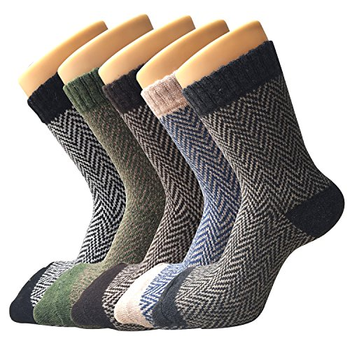Womens Thick Knit Warm Casual Wool Crew Winter Socks, One Size, Mixed Colors (5 Pack)