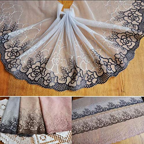 Lace Fabrics 1 Meter Gray Pink Coffee Embroided Flower Embroidery Lace Trim Mesh Sewing Applique Dress Decorations 22cm