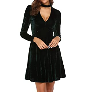 b05610e27c Dizzlle Women Choker V-Neck Velvet Dress Flare Long Sleeve Elegant A Line  Dress