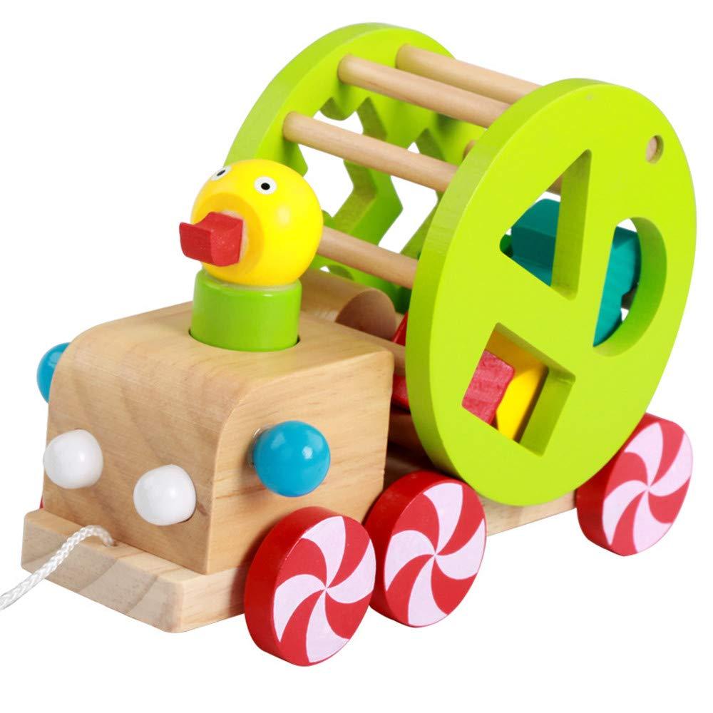JINLINE望遠鏡 子供用 早期教育 クイズドラッグ おもちゃ 赤ちゃん 認知 形状 マッチング 木製ブロック ダックリング 車 知恵 スマート おもちゃ   B07QZGN5TK
