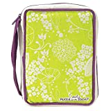 Lime Green Floral Said a Prayer for You Today Small Cotton Canvas Bible Cover with Handle