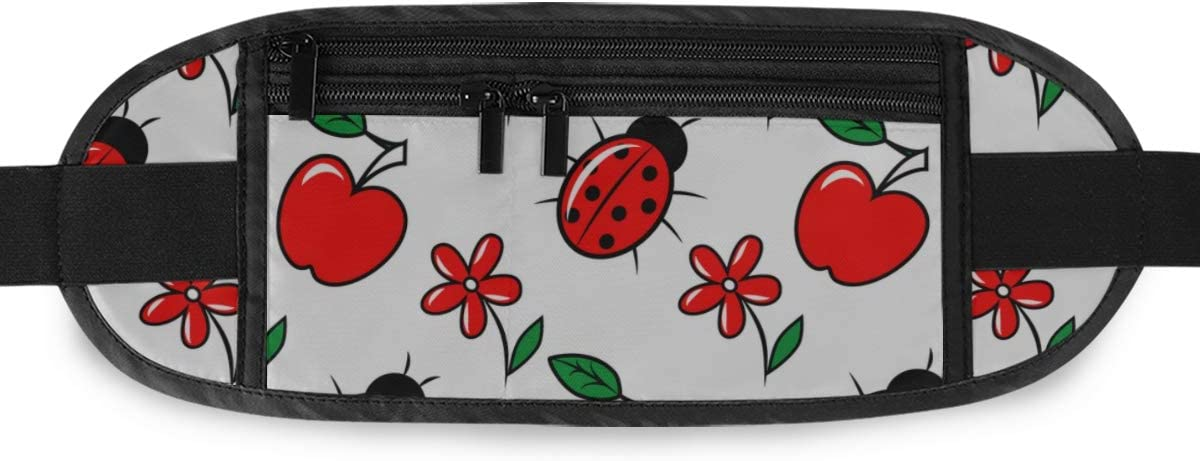 Travel Waist Pack,travel Pocket With Adjustable Belt Pattern Cute Ladybugs Flowers Running Lumbar Pack For Travel Outdoor Sports Walking