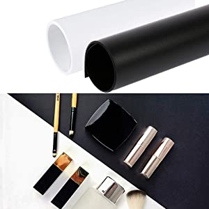 Meking 20x39 Inch PVC Backdrop, 2-Pack Waterproof Matte Photography Background for Flat Lay Food & Cosmetic Small Product Photo Studio Shooting (White+Black)